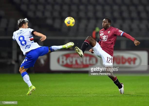 Valerio Verre of U.C. Sampdoria battles for possession with Wilfried Singo of Torino F.C. During the Serie A match between Torino FC and UC Sampdoria...