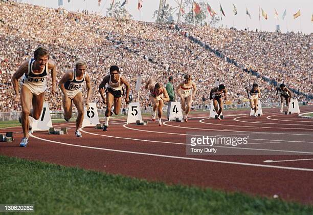 Valeriy Borzov of the Soviet Union in lane 5 bursts from the blocks to win the Men's 200 metres final from Larry Black of the United States in lane 1...