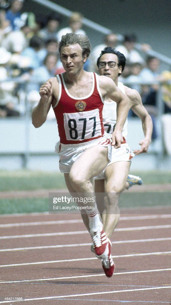 Valeriy Borzov of the Soviet Union wins his heat in the 100m at the Summer Olympic Games in Montreal, circa July 1976.