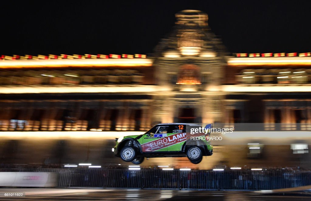 Valeriy Gorban of Ukraine and his co-driver Sergei Larens of Estonia compete in their BMW-Mini John Cooper Works during the street stage on the first day of the FIA World Rally Championship's in Mexico City, on March 9, 2017. /