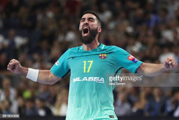Valero Rivera Folch of Barcelona celebrates a goal during the VELUX EHF FINAL4 Semi Final between HC Vardar and FC Barcelona Lassa at Lanxess Arena...