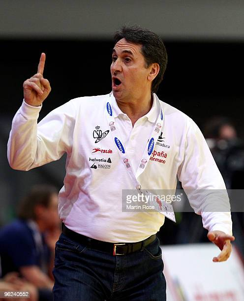 Valero Rivera head coach of Spain reacts during the Men's Handball European main round Group II match between Slovenia and Spain at the Olympia Hall...