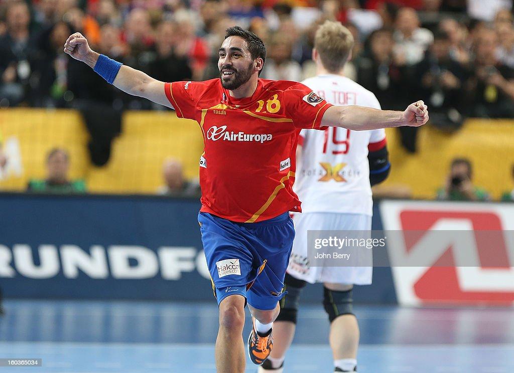 Valero Rivera of Spain celebrates a goal during the Men's Handball World Championship 2013 final match between Spain and Denmark at Palau Sant Jordi on January 27, 2013 in Barcelona, Spain.