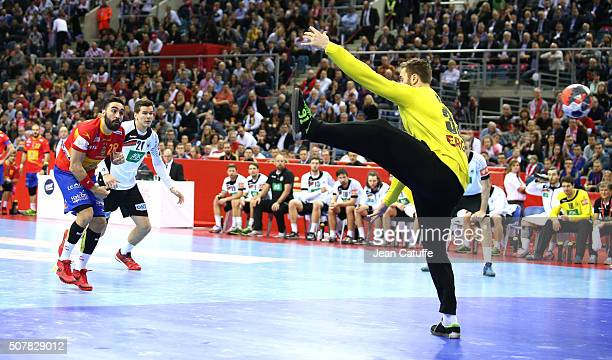 Valero Rivera of Spain faces goalkeeper of Germany Andreas Wolff during the Gold Medal match the final of the Men's EHF European Handball...