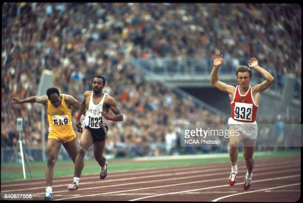 Valery Borzov of the Soviet Union and Robert Taylor of the US in action in the 100 m race during the Olympic games in Munich West Germany Borzov...