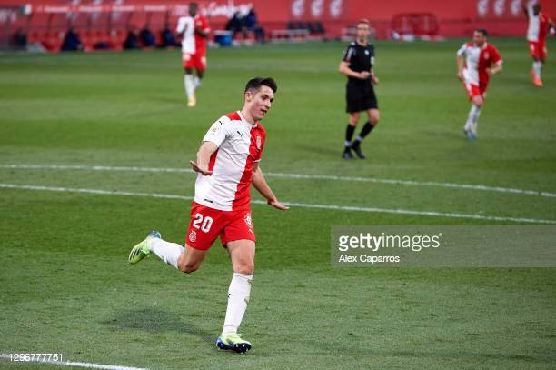 Valery Fernandez of Girona FC celebrates after scoring his team's second goal during the Copa del Rey round of 32 match between Girona FC and Cadiz...