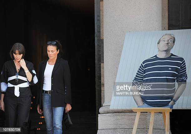 Valery Fignon the wife of French cycling champion Laurent Fignon leaves the crematorium after the funeral ceremony for her husband on September 3...