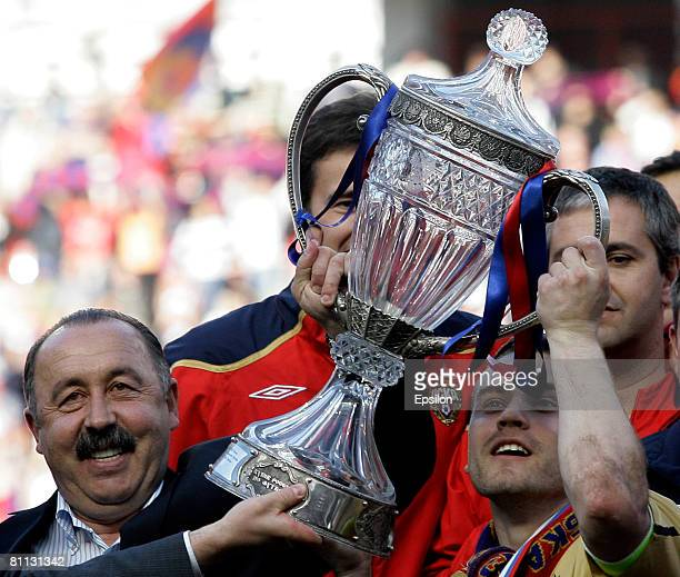 Valery Gazzaev head coach and Igor Akinfeev of PFC CSKA Moscow celebrate their victory in the Russian Cup final match between PFC CSKA Moscow and FC...