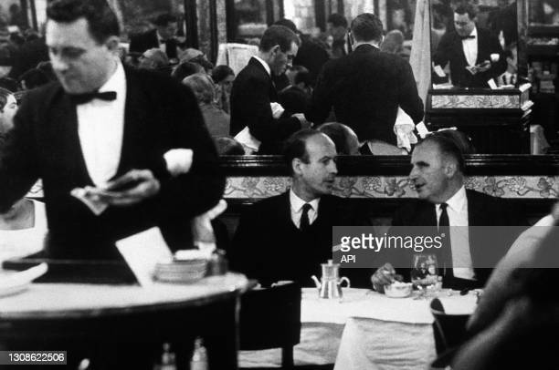 Valery Giscard D Estaing And Georges Pompidou At The Brasserie Lipp in Paris, Sixties.