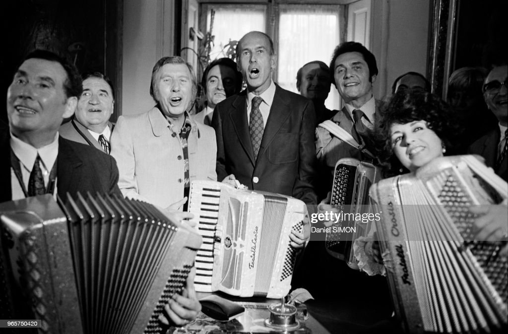 Valery Giscard D Estaing with French accordion players Edouard Duleu, Aimable, Andre Verchuren and Yvette Horner, at World Accordion Festival, on June 26, 1973 in Paris, France.