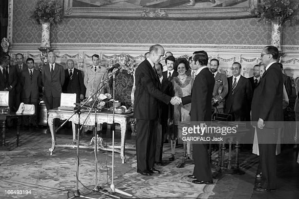 Valery Giscard D'Estaing And His Wife To Visit Portugal Le 22 juillet 1978 au Portugal dans le cadre d'un voyage officiel pendant un cérémonie le...