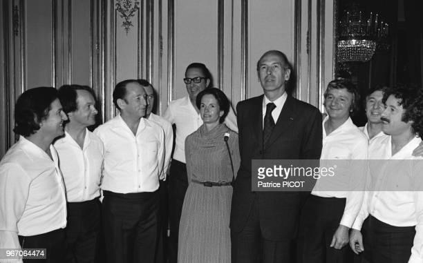 Valery Giscard d'Estaing Anne Aymone and 'les compagnons de la chanson'