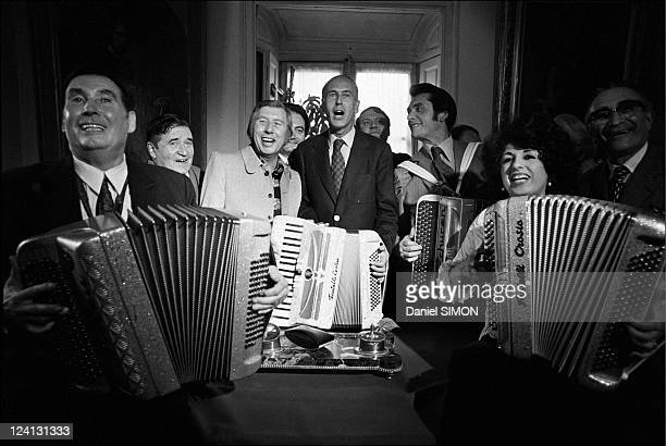 Valery Giscard d'Estaing at the international accordion festival In Paris France On June 26 1973 Edouard Duleu Aimable Valery Giscard d'Estaing Andre...