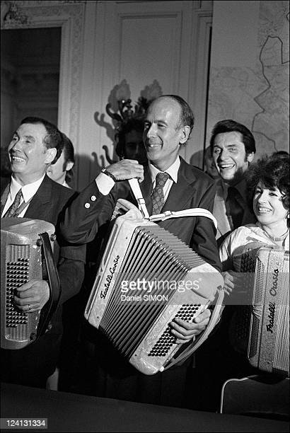 Valery Giscard d'Estaing at the international accordion festival In Paris France On June 26 1973 Edouard Duleu Valery Giscard d'Estaing Andre...
