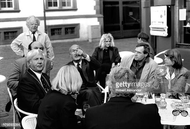 Valery Giscard d'Estaing former president of France talks informally with city leaders and residents of Koblenz Germany during a visit to the city in...