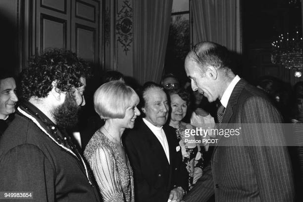 Valery Giscard d'Estaing with Carlos and Annie Cordy