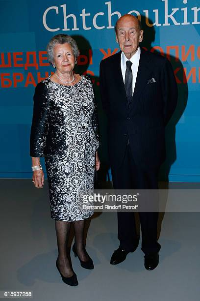 """Valery Giscard d'Estaing with his wife Anne-Aymone Giscard d'Estaing attend the """"Icones de l'Art Moderne, La Collection Chtchoukine"""" : Cocktail at..."""