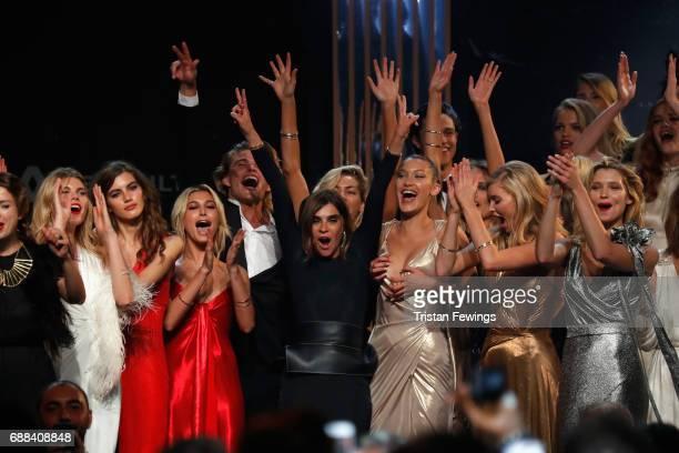 Valery Kaufman Hailey Baldwin Carine Roitfeld Bella Hadid Elsa Hosk and Hana Jirickova are seen on stage at the amfAR Gala Cannes 2017 at Hotel du...