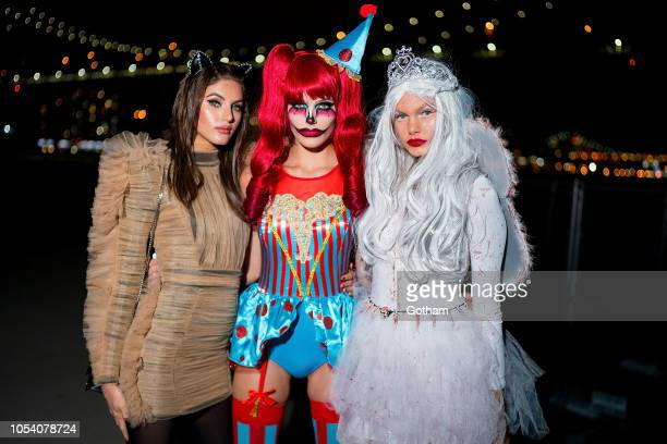Valery Kaufman Madison Headrick and Annika Krijt attend the V Magazine Halloween Party presented by Chanel at Jane's Carousel on October 26 2018 in...