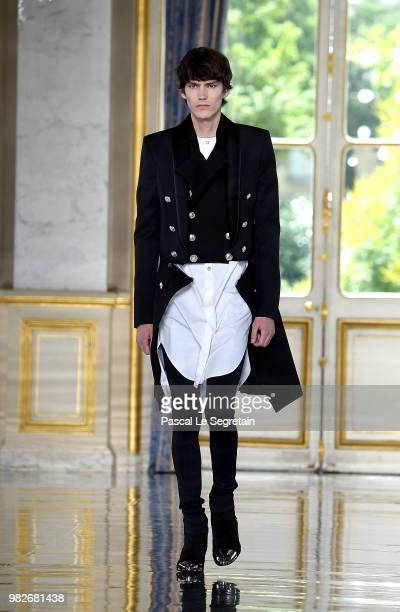 Valery Kaufman walks the runway during the Balmain Menswear Spring/Summer 2019 show as part of Paris Fashion Week on June 24 2018 in Paris France