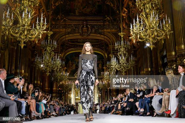 Valery Kaufman walks the runway during the Balmain show as part of the Paris Fashion Week Womenswear Spring/Summer 2018 on September 28 2017 in Paris...
