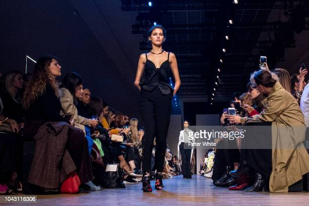 Valery Kaufman walks the runway during the Elie Saab show as part of the Paris Fashion Week Womenswear Spring/Summer 2019 on September 29 2018 in...