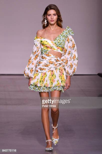Valery Kaufman walks the runway for Zimmermann fashion show during New York Fashion Week The Shows at Spring Studios on September 11 2017 in New York...