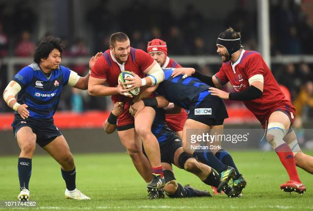 Valery Morozov of Russia in during the International Friendly match between Russia and Japan at Kingsholm Stadium on November 24 2018 in Gloucester...