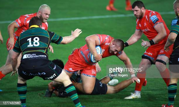 Valery Morozov of Sale Sharks charges upfield with the ball during the Gallagher Premiership Rugby match between Northampton Saints and Sale Sharks...