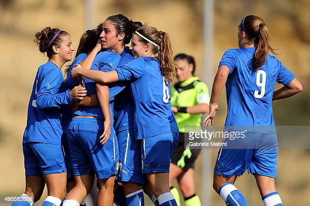 Valery Vigilucci of Italy U19 women's celebrates after scoring a goal during the international friendly match between Italy U19 and England U19 on...
