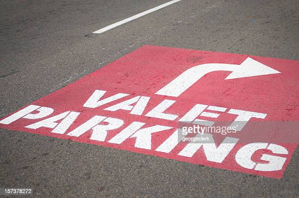 valet parking - parking sign stock photos and pictures