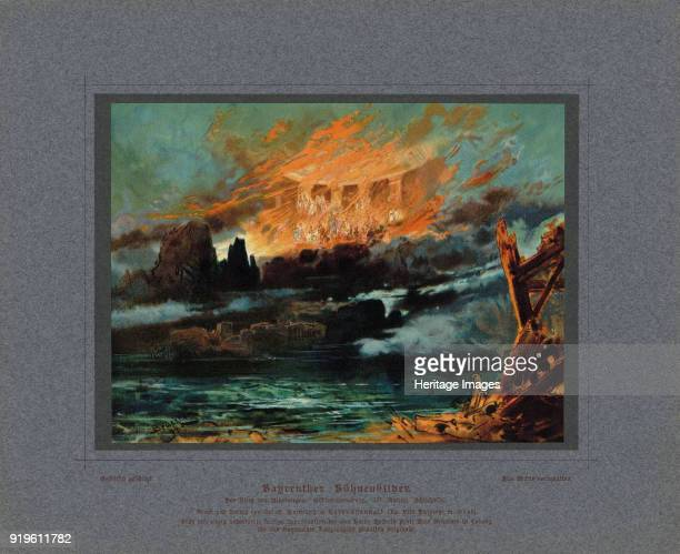 Valhalla on fire Stage design for the opera Twilight of the Gods by Richard Wagner 1896 Found in the Collection of Bibliothèque Nationale de France