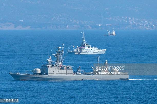 Valiant of the UK Border Force and a Greek navy ship patrol the Aegean Sea between Turkey and Lesbos Island on October 13, 2019 in Skala Sikamineas,...