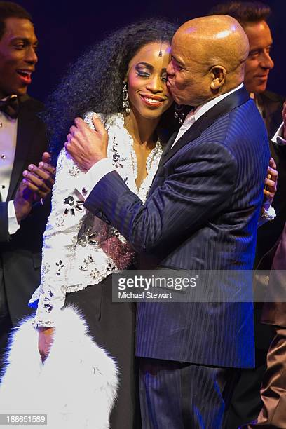 "Valisia LeKae and Berry Gordy Jr. Attend the Broadway opening night for ""Motown: The Musical"" at Lunt-Fontanne Theatre on April 14, 2013 in New York..."