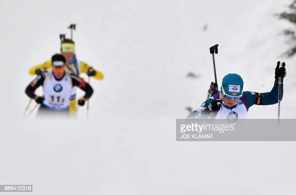 Valj Semerenko of Ukraine competes during the women's 4x6 km relay event at the IBU World Cup Biathlon in Hochfilzen Austria on December 10 2017 /...
