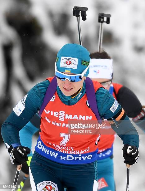 Valj Semerenko of Ukraine competes in the women's 10 km pursuit event at the IBU World Cup Biathlon in Grand Bornand on December 16 2017 / AFP PHOTO...