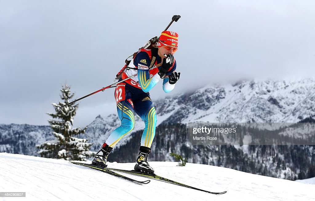 Valj Semerenko of Ukraine competes in the women's 10km pursuit event during the IBU Biathlon World Cup on December 8, 2013 in Hochfilzen, Austria.