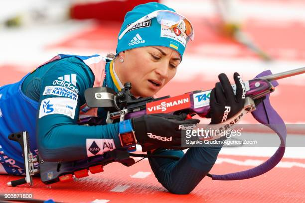 Valj Semerenko of Ukraine in action during the IBU Biathlon World Cup Women's Individual on January 11 2018 in Ruhpolding Germany
