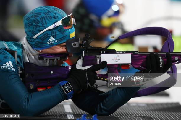 Valj Semerenko of Ukraine practices ahead of the Women's Biathlon 75km Sprint on day one of the PyeongChang 2018 Winter Olympic Games at Alpensia...