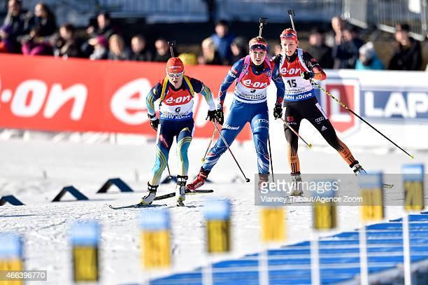 Valj Semerenko of Ukraine takes 1st place during the IBU Biathlon World Championships Men's and Women's Mass Start on March 15 2015 in Kontiolahti...