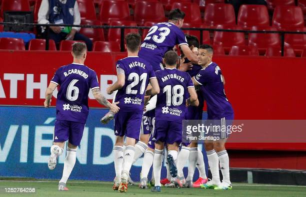 Valladolid celebrate after the opening goal during the Liga match between Sevilla FC and Real Valladolid CF at Estadio Ramon Sanchez Pizjuan on June...