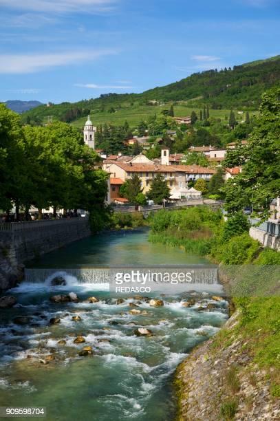 Vallagarina Trentino Alto Adige Italy Europe wiew of Rovereto town and Leno river