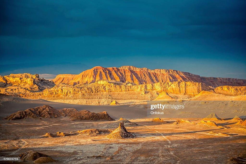 Valle de la Luna, Mond Valle bei Sonnenuntergang, Atacama Desert : Stock-Foto
