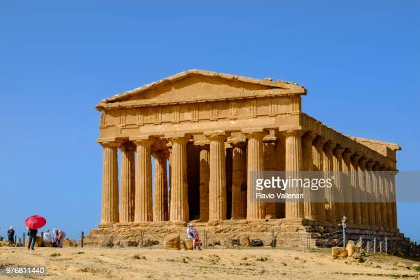 valle dei templi, temple of concord (sicily, italy) - agrigento stock pictures, royalty-free photos & images