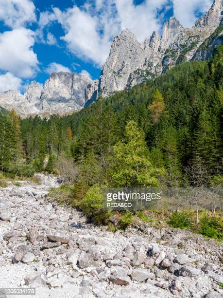 Valle del Canali in the mountain range Pale di San Martino, part of UNESCO world heritage Dolomites, in the dolomites of the Primiero. Europe,...