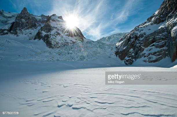 Vallee Blanche on sunny day, Chamonix, Haute-Savoie, Auvergne-Rhone-Alpes, France