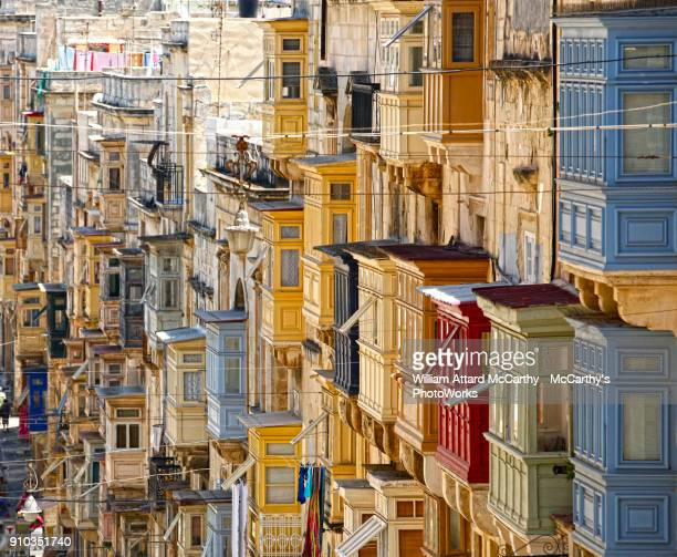 valletta balconies - valletta stock pictures, royalty-free photos & images