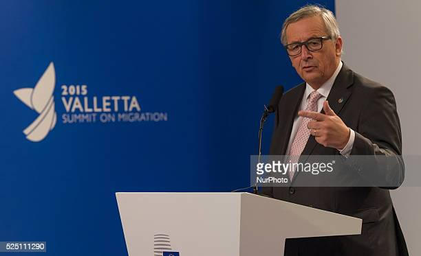 European Commission President JeanClaude Juncker give a press meeting at the end of the informal meeting of EU heads main point of discussion however...