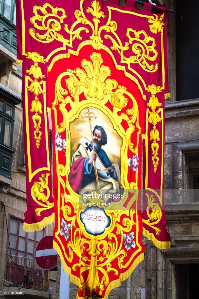 Valletta, Malta: Banner for St Augustine Religious Festival : Stock Photo