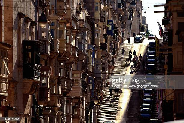 valletta malta mediterranean street - valletta stock pictures, royalty-free photos & images